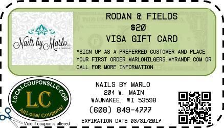 Coupon in Waunakee WI for Nails by Marlo from Local Coupons LLC.