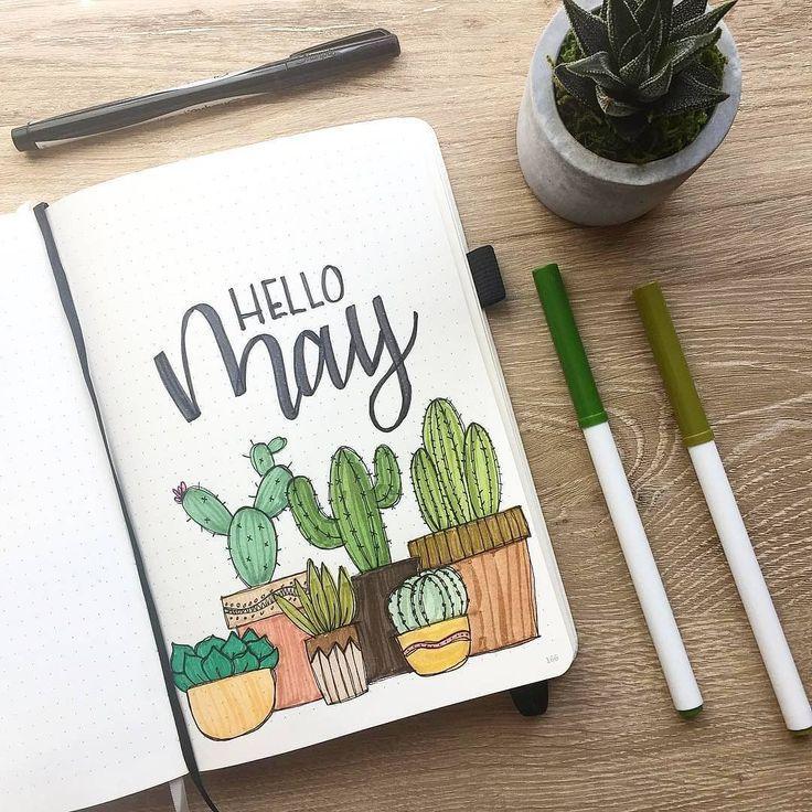 Bullet Journal monatliches Deckblatt, Mai Deckblatt, Hand Schriftzug, Kaktus Drawin