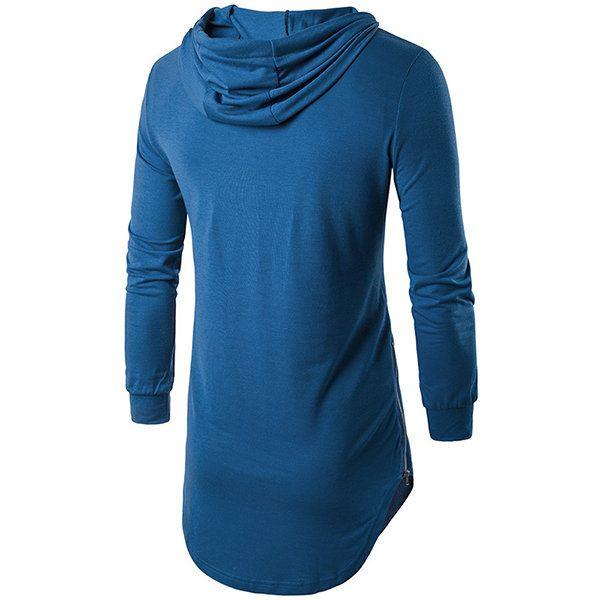 Fashion Personality High Street Hooded T-shirt Men's Casual Pure Color Long Sleeve Hoodies T-shirt at Banggood