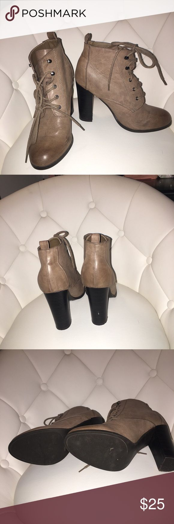 High heel booties Beautiful brown distressed leather high heeled booties from Charkotte Russe, worn once for an hour Charlotte Russe Shoes Heeled Boots