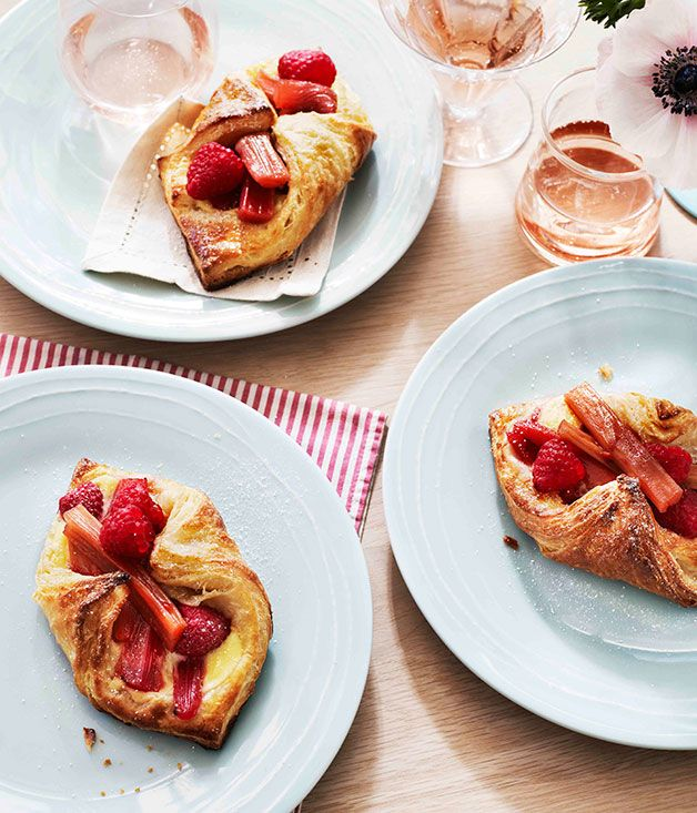 Rhubarb and raspberry Danish pastries