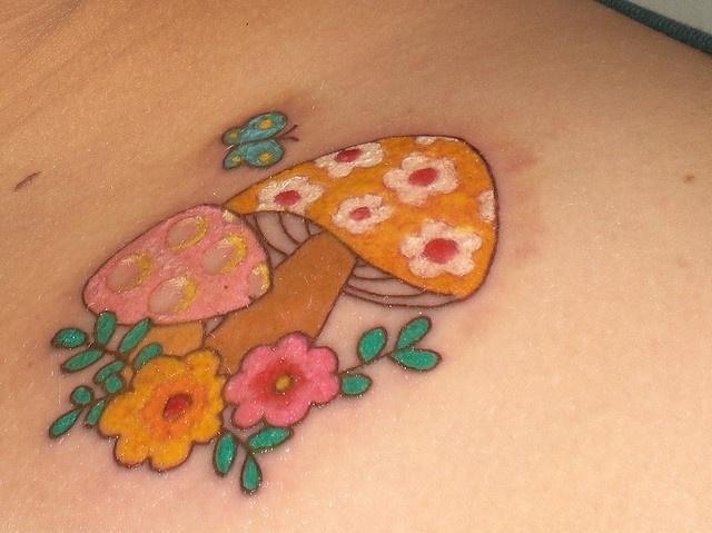 Mushroom tattoo - Day 2 by ChristineYells, via Flickr