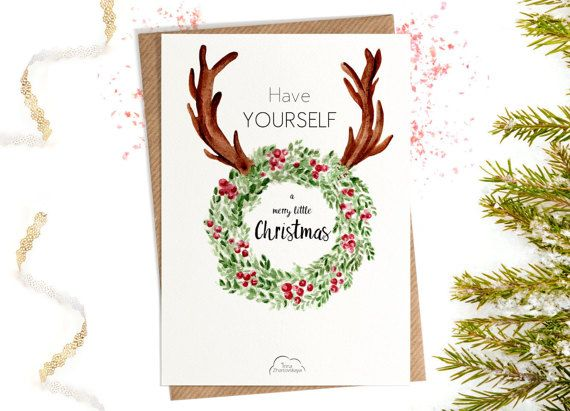 Printed Watercolor cards Have Yourself A Merry от WhiteWildRose
