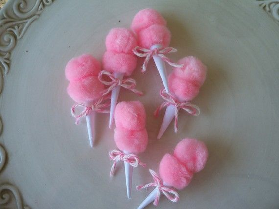 These simply are the daintiest cotton candy toppers perfect for tea parties and more! Imagine a very girlie and vintage theme party with these cuties. Let your wheels turn ladies, figure out how you can plan an event to use them now. ;) Purchase these here: Jean Knee's...