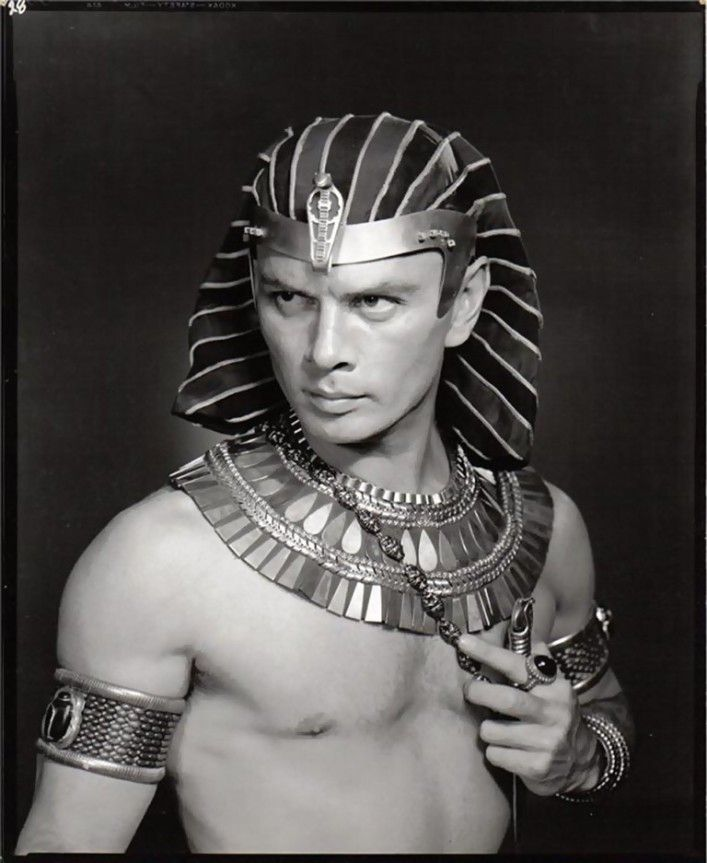Yul Brynner ( July 11, 1920 – October 10, 1985) was a Russian-born film and stage actor.  He was best known for his portrayal of Rameses II in the 1956 Cecil B. DeMille blockbuster The Ten Commandments, as the King of Siam in the Rodgers and Hammerstein musical The King and I, for which he won two Tony Awards and an Academy Award for the film version. Brynner also portaryed General Bounine in the 1956 film Anastasia and Chris Adams in The Magnificent Seven.