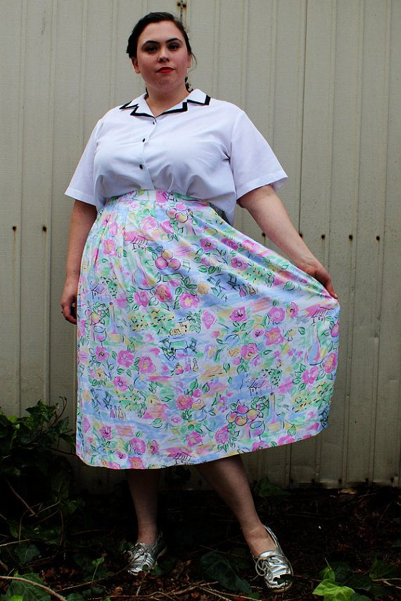 Plus Size  Vintage Pastel Print Pleated Front Midi by TheCurvyElle