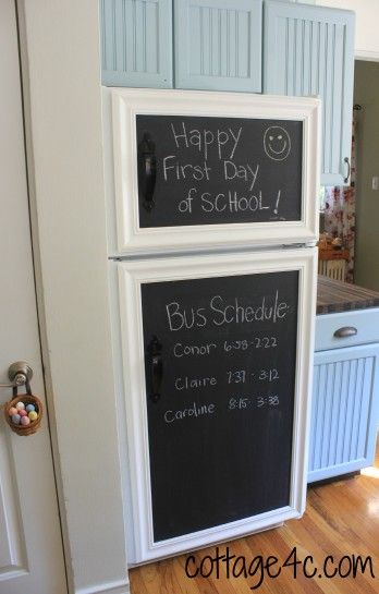framed chalk board with magnets to hold it.  Blog has website to order magnets.