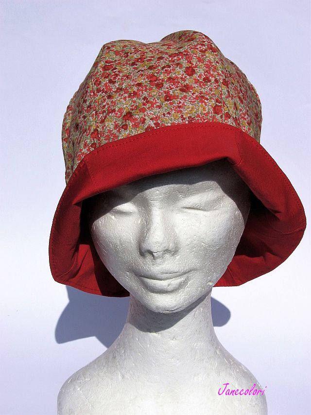 cappello donna, estivo ,reversibile rosso-arancione,cotone leggero, print floreale, vacanza, spiaggia, summer hat women flower, chapeau ètè di Janecolori su Etsy