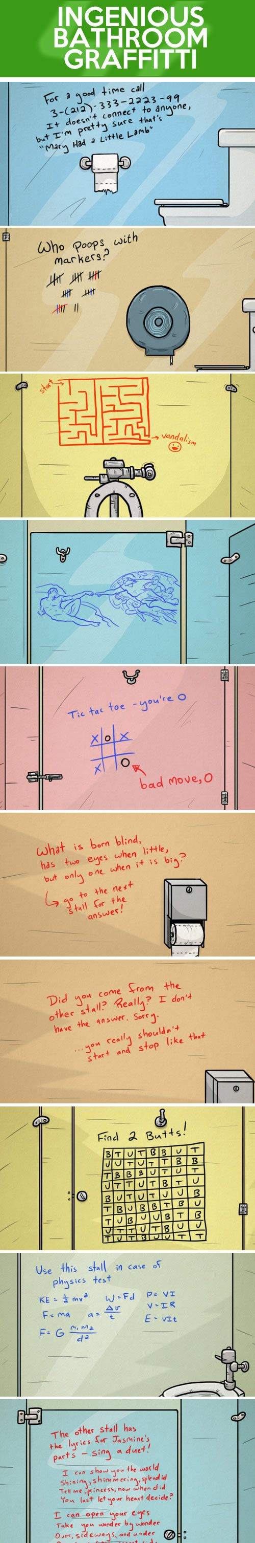 This is one of the funniest pins ever... Ingenious bathroom graffiti…