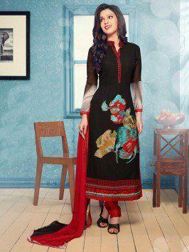 Black Georgette Suit With Resham Work www.saree.com