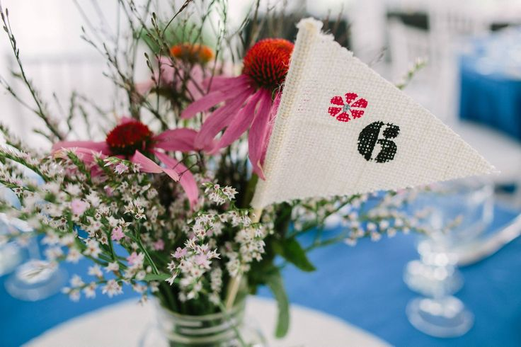 Rustic Centrepiece with flag