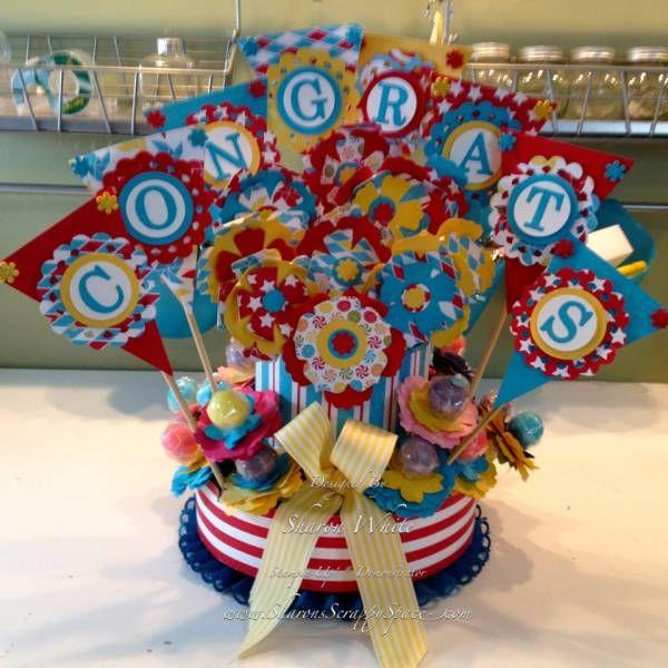 Congrats Flower Bouquet: Centerpieces Ideas, Flowers Bouquets, Crafts Ideas, Kids Birthday, Birthday Parties, Congrat Centerpieces, Bouquets Centerpieces, Lollipops Bouquets, Paper Crafts