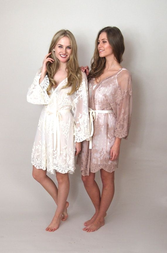 HELENA Blush pink lace kimono getting ready  This would be amazing but it's so expensive wehh $207