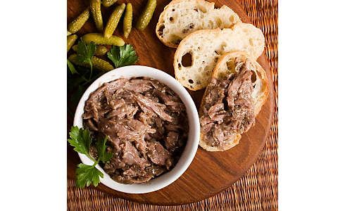 This rustic duck spread is easier than you think. Serve it with thick sliced country bread & cornichons. D'Artagnan