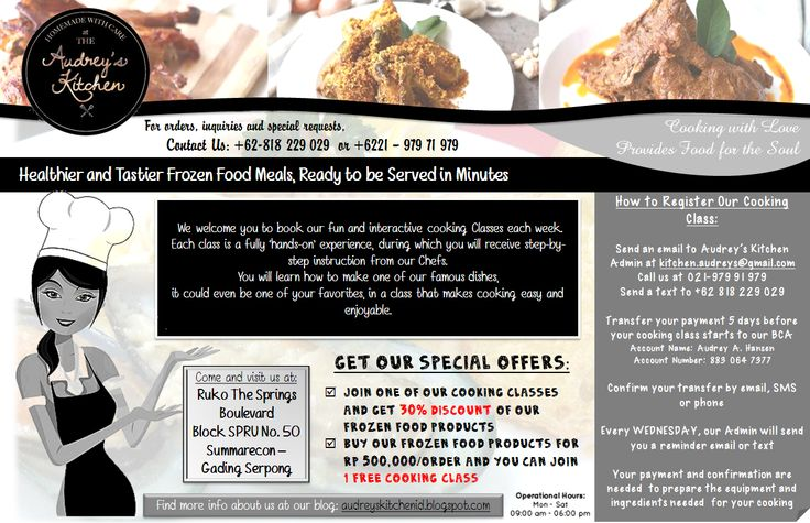 Cooking Class at Audrey's Kitchen: Check on our special offers!
