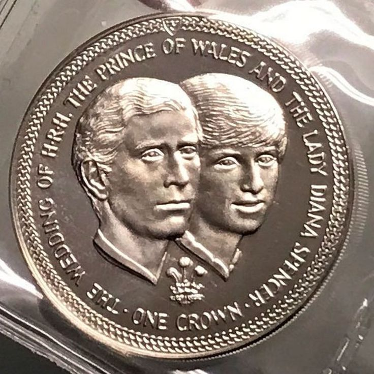 1981 ISLE of MAN Silver Crown Coin WEDDING of Charles
