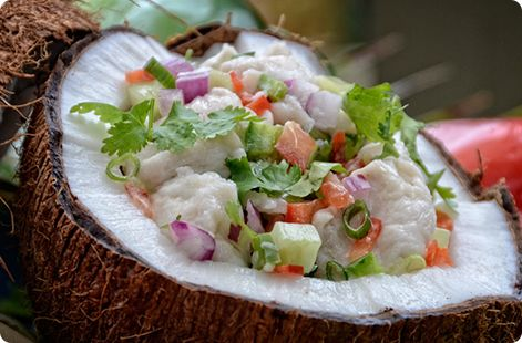 Relishes include meat, fish and seafood, and leafy vegetables. Canned meat and fish are also very popular. Vegetables often are boiled in coconut milk, another dietary staple. Soup is made of fish or vegetables.