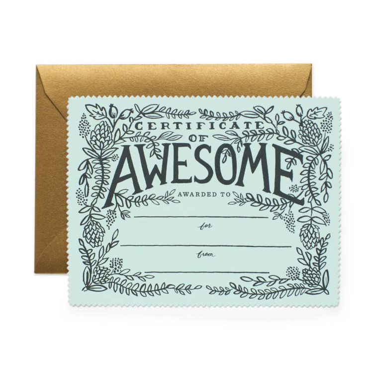 Certificate Of Awsomeness Greeting Card