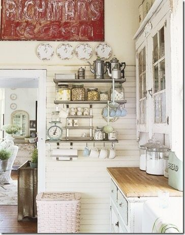 Rustic shabby chic idea....love the shelves possibly an idea for the blank wall in my kitchen.
