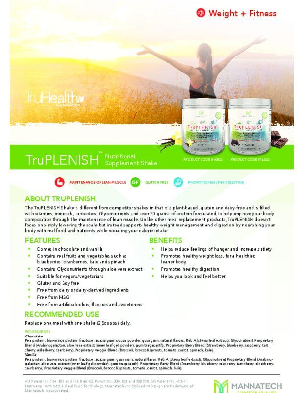 TruPLENISH™ Product Sheet - Powered By Mannatech