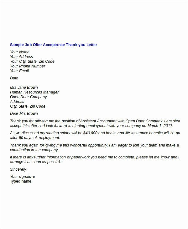 Job Offer Thank You Letter Luxury Thank You Letter For Interview And Job Fer Thank You Letter Offer And Acceptance Thank You Letter Template