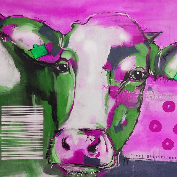 "EUR 85,– Kunstdruck auf Leinwand, Neo-Expressionismus ""Kuh in Pink"" #kuh #kunst #Kunstdruck ""Kuh in Lila"""