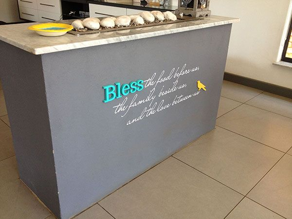 Bless the food before us, the family beside us, and the love between us 3D & vinyl wall art