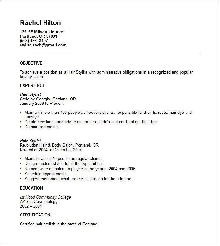 Pin By Deanna R On Hairstylist Resumes Resume Objective