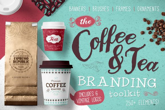 Coffee & Tea themed branding toolkit designed to take the effort out of your next logo/branding project. Hundreds of individual hand-drawn banners, brushes, frames and ornaments are included to help you create a beautiful and characterful brand!