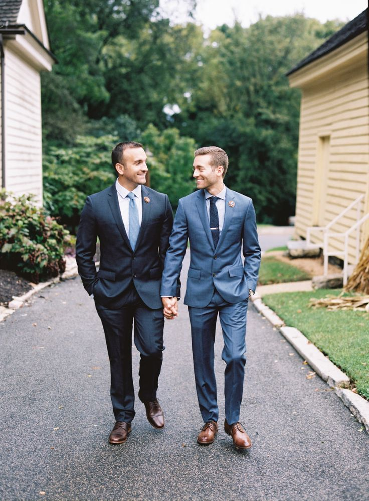 great groom style | blue suits and brown shoes for this same sex wedding