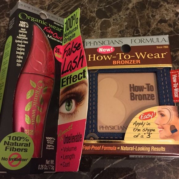 "NEW Physician's Formula Mascara and Bronzer Duo Brand new, unused and in original package. Duo comes with Organic Wear Fake Out mascara in ""ultra black"" .26oz, and How-To-Wear bronzer in ""bronzer"" Physicians Formula Makeup Bronzer"