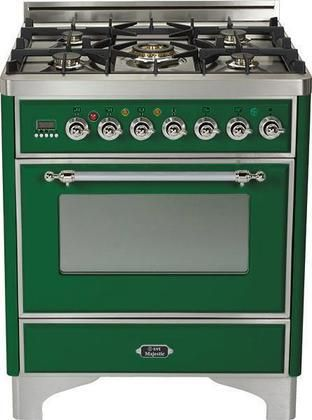 """UM-76-DMP-VS-X 30"""" Majestic Series Freestanding Dual Fuel Range with 5 Sealed Burners 3.0 cu. ft. Primary Oven Capacity Convection Oven Warming Drawer Chrome Trim in Emerald Green"""