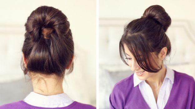Простая школьная прическа - объемный пучок ::: onelady.ru ::: #hair #hairs #hairstyle #hairstyles