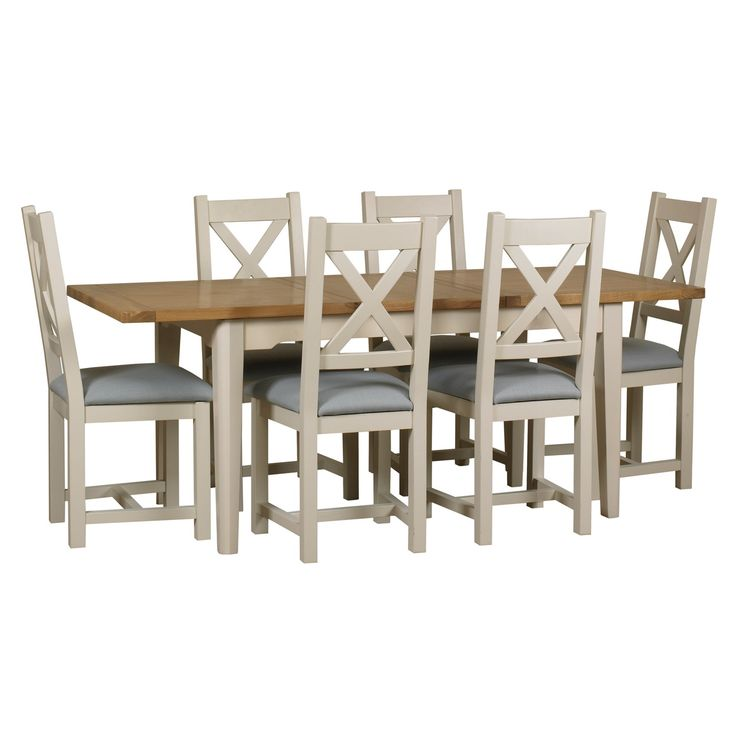 Debenhams Oak And Painted Wadebridge Extending Table Set Of 6 Chairs With Blue