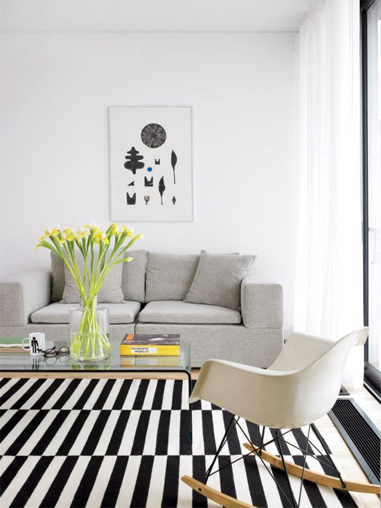 Modern Design | Living Room Ideas | Ikea Stockholm | Black White Stripe
