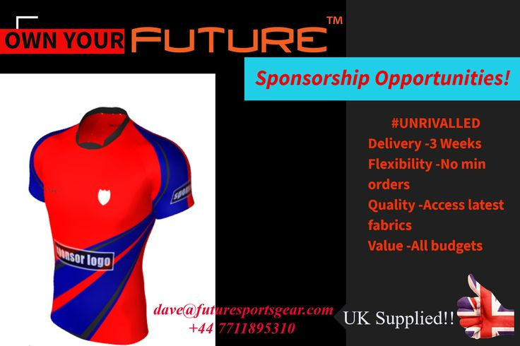 Own Your Future! You request-We deliver! With unrivalled #service #quality #value. Sponsorship Opportunities available! #Futuresportsgear