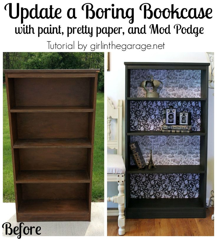 Decoupage Bookcase: How to update a boring bookcase with paint, pretty paper, and Mod Podge.  girlinthegarage.net