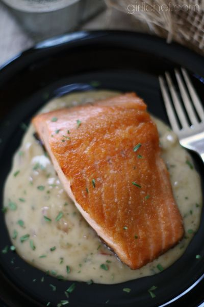 Salmon in Moscato Cream Sauce by @girlichef