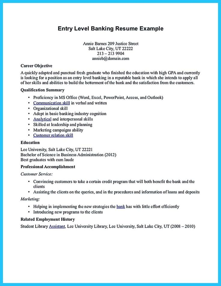 cool One of Recommended Banking Resume Examples to Learn,