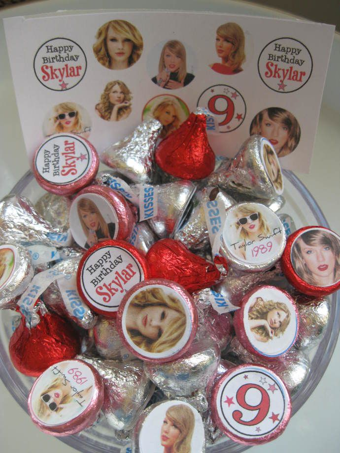 Taylor Swift- 100 Hershey Kiss/candies stickers - Personalized Birthday stickers  by Time2celebrate, $4.95 USD