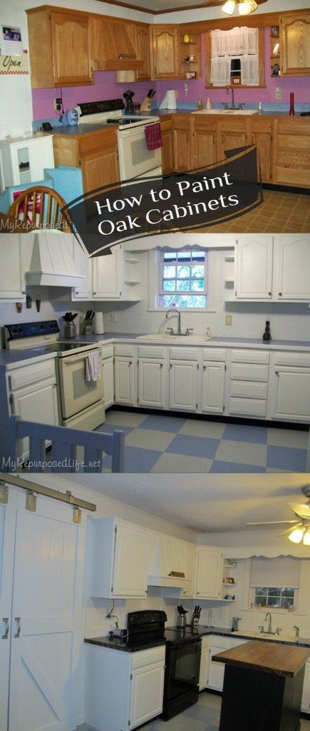 My Repurposed Life-How to Paint Oak Cabinets.