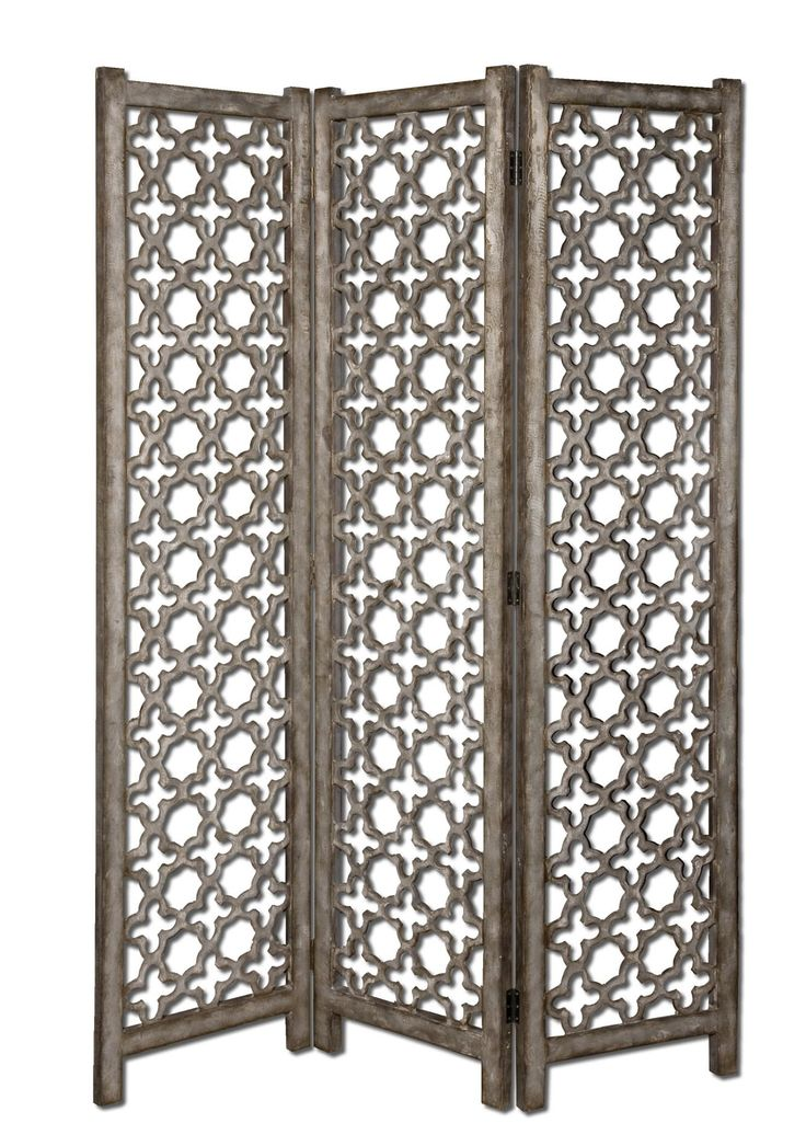 Quatrefoil Floor Screen This Decorative Floor Screen Features An Open,  Scroll Work Design With A Finish Of Burnished Aluminum With Darkened Gray  Undertones.