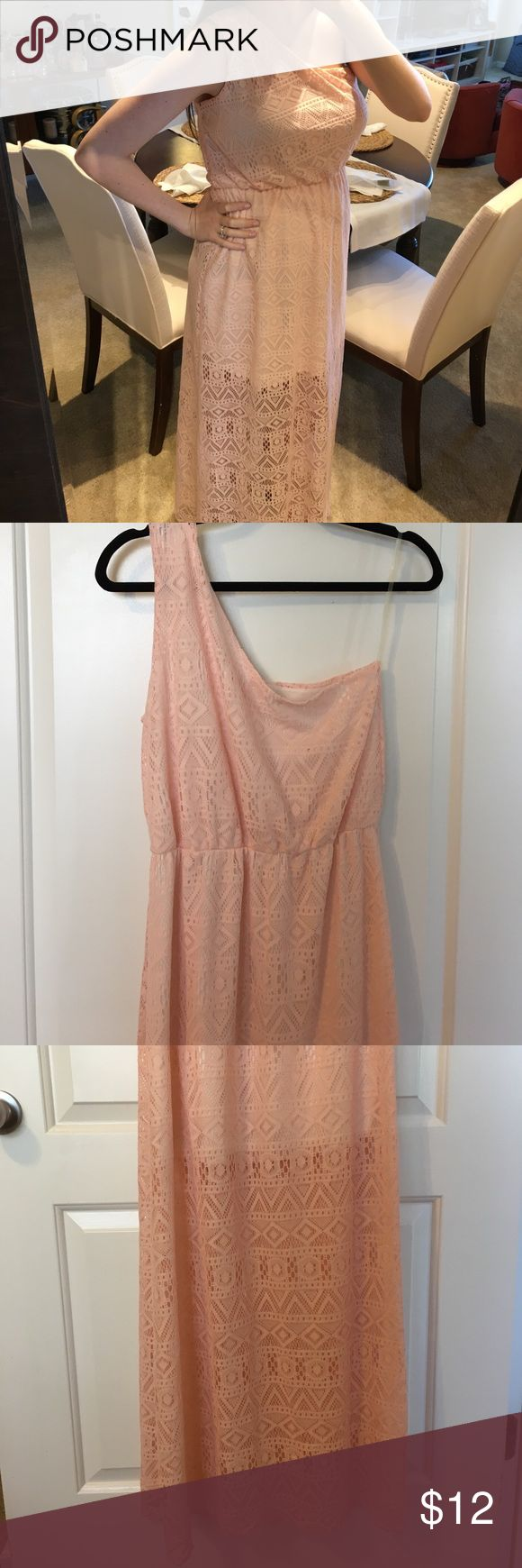 Light Pink Maxi Dress This light pink Aztec print lace maxi dress is perfect for weddings, weekends and the beach! The slip cuts off above the knee for a beautiful look. Only worn once! Purchased from a boutique. NewburyKustom Dresses One Shoulder