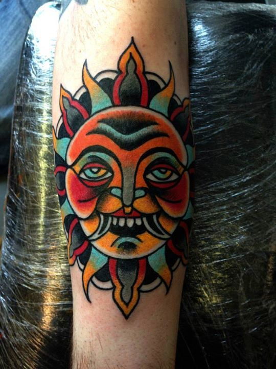neo traditional sun arm tattoo by luke jinks tattoo