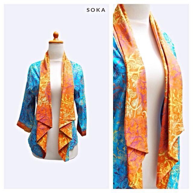 $22 Bolero jacket batik, blue color with orange collar #fashion #jacket #womenfashion #batik #cardigan #style