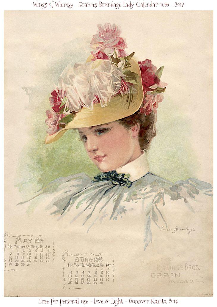 Calendar Sunday – Frances Brundage Ladies 1899   Wings of Whimsy