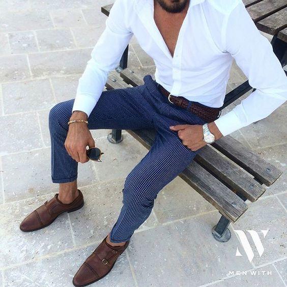 Shop this look on Lookastic: https://lookastic.co.uk/men/looks/long-sleeve-shirt-dress-pants-double-monks/20061   — White Long Sleeve Shirt  — Dark Brown Woven Leather Belt  — Silver Watch  — Navy Dress Pants  — Dark Brown Leather Double Monks