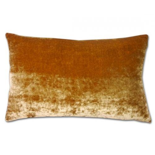 Autumn Gold Silk Velvet and Linen Cushion (50x30cm)