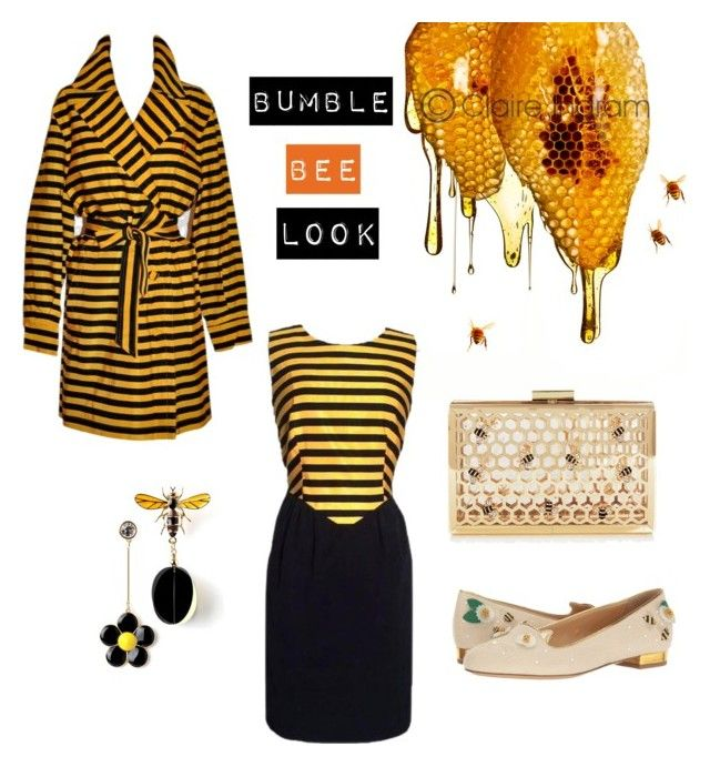 Bumble bee look by bintangghaisani on Polyvore featuring polyvore, мода, style, Moschino, Charlotte Olympia, fashion and clothing