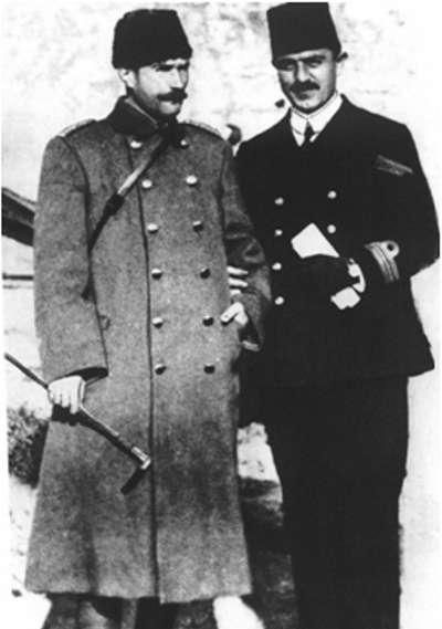Mustafa Kemal with Commander of Ottoman Navy ( Rauf Orbay ), 1912